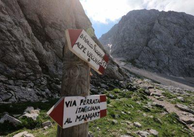 Odbočka na Via Italiana před Malim Mangartem